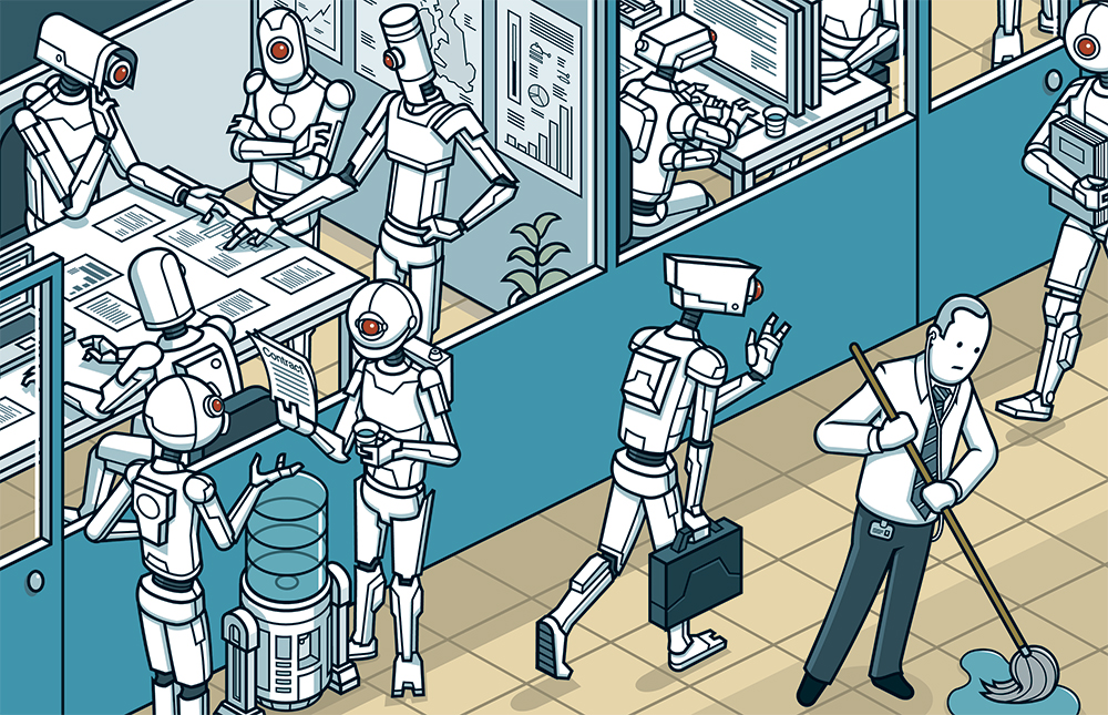 Artificial Intelligence illustration and the threat to white